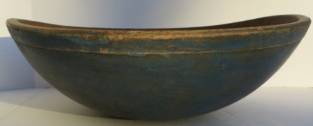 19TH CENTURY DOUGH BOWL WITH OLD BLUE PAINT