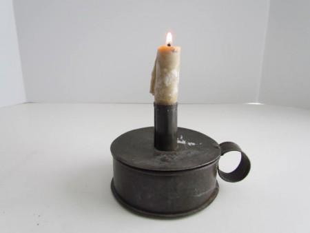 19th. century Tin Tinder Box w/Candle Socket