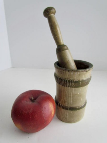 Tan/Grey Painted Mortar and Pestle, Signed and Dated