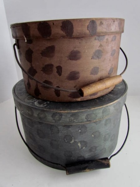 Fabulous Bail Handled Pantry Box, Painted with Tan and Brown Polka Dots