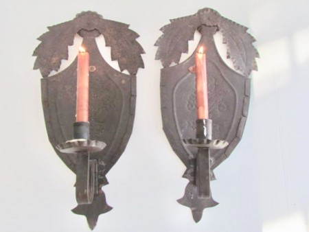 Exceptional Pair of Punched Tin Decorated Candle Sconces