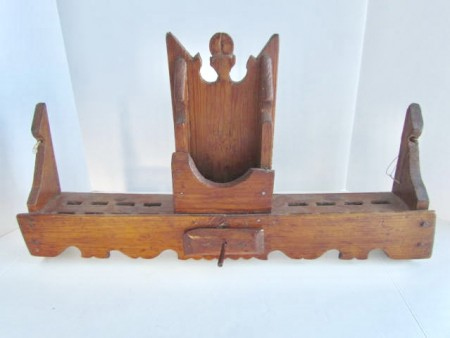 Pine Wood Spoon Rack with Mortar/Pestle Holder