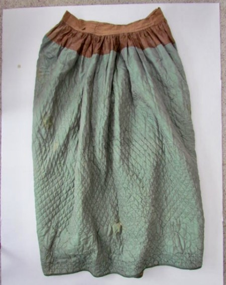 19th. century Quilted Petticoat, Mississippi Silk/Tafeta