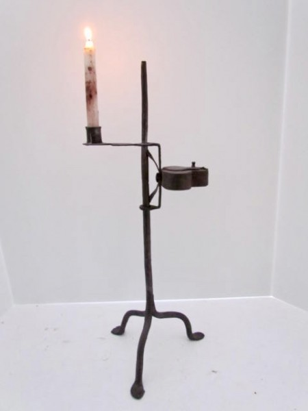 19th. century Iron Table Light with Candle Cup and Betty Lamp