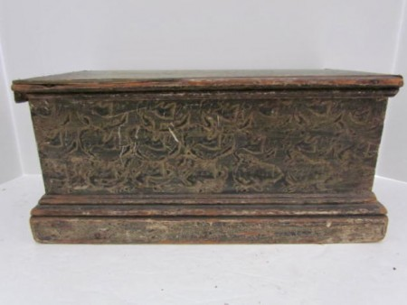 Early 19th. century Pa. Table Box, Small Blanket Chest, Best Form and Paint