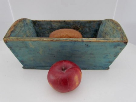 Small, 14 inch, 19th. century Blue Painted Dough Box