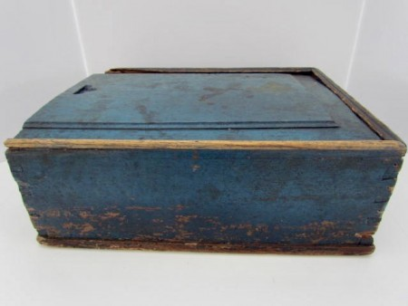 Outstanding, 19th. century Blue Painted Candle Box