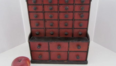 19th. century, 26 Drawer Apothecary, Original Red/Black Paint