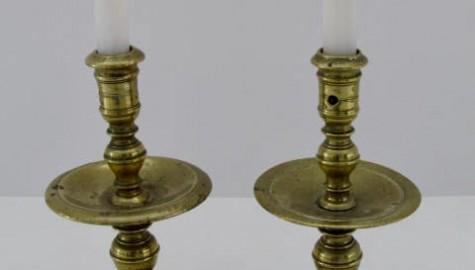 17th. century, Mid-Drip Brass Candlesticks