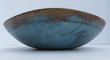 19TH CENTURY DOUGH BOWL WITH GORGEOUS OLD AND ORIGINAL BLUE PAINT