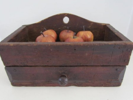 Early 19th. century Kentucky Red Painted Wall Box, Drawer and Well
