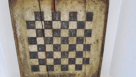 Mid 19th. century Checkerboard, Black/White, Signed and Dated