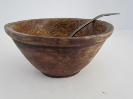Small 18th. century Burl Bowl with Pewter Ladle
