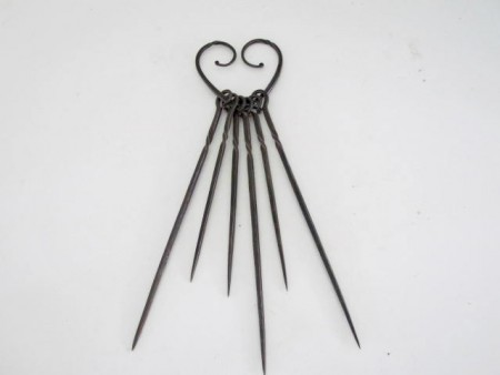 18th. century Heart Shaped Skewer Holder with Skewers