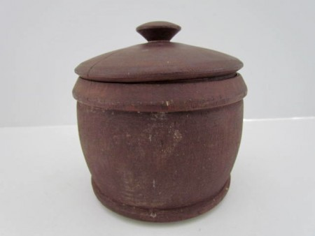 Treenware, Covered Sugar Bowl, red paint
