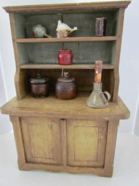 19th. century Child's Stepback Cupboard - Child's Step Back Cupboard Art Antiques Michigan