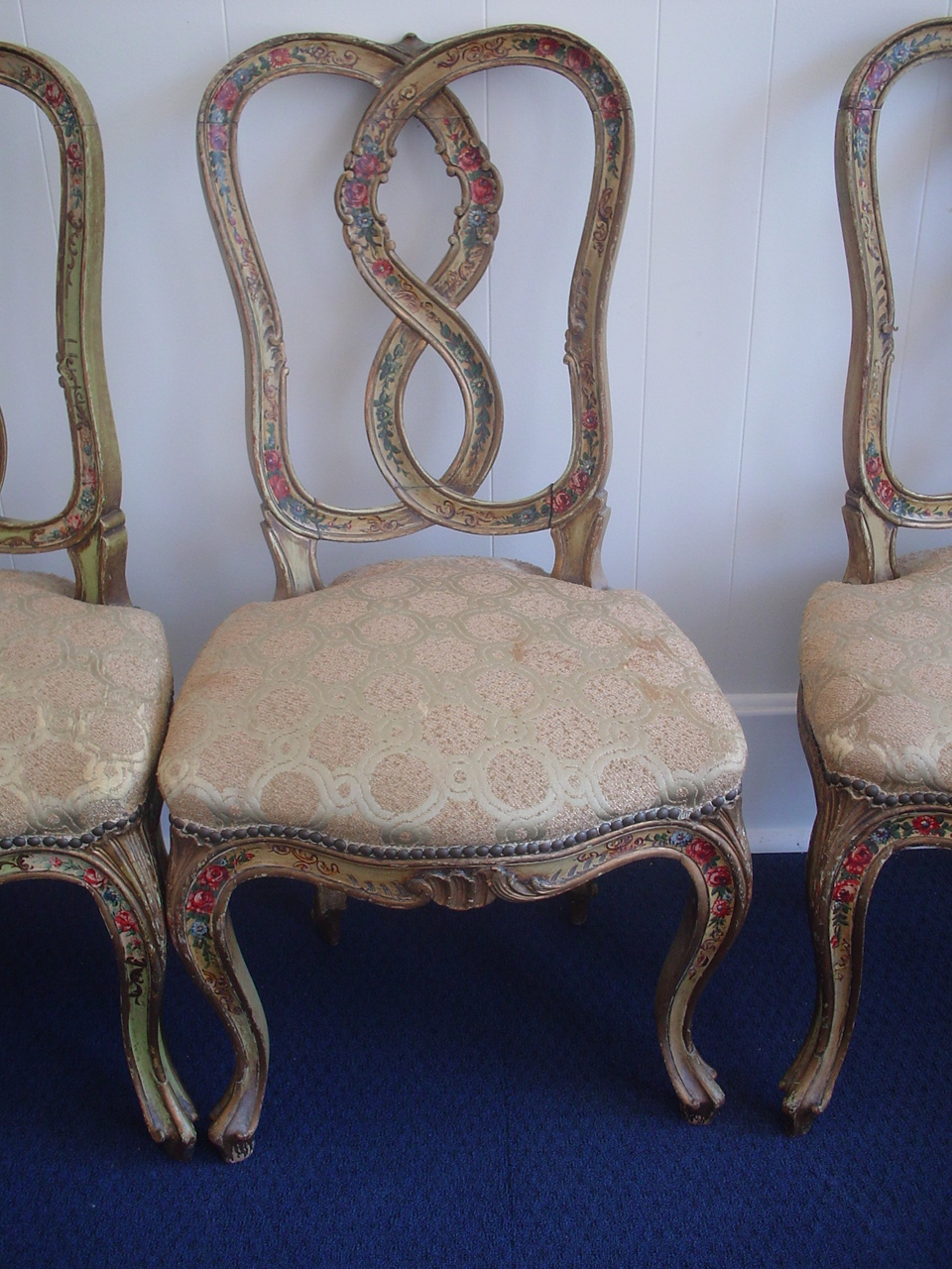 Tags: Chairs, Country French Chairs, Floral, Original Paint, Roses, Set Of  Four Chairs