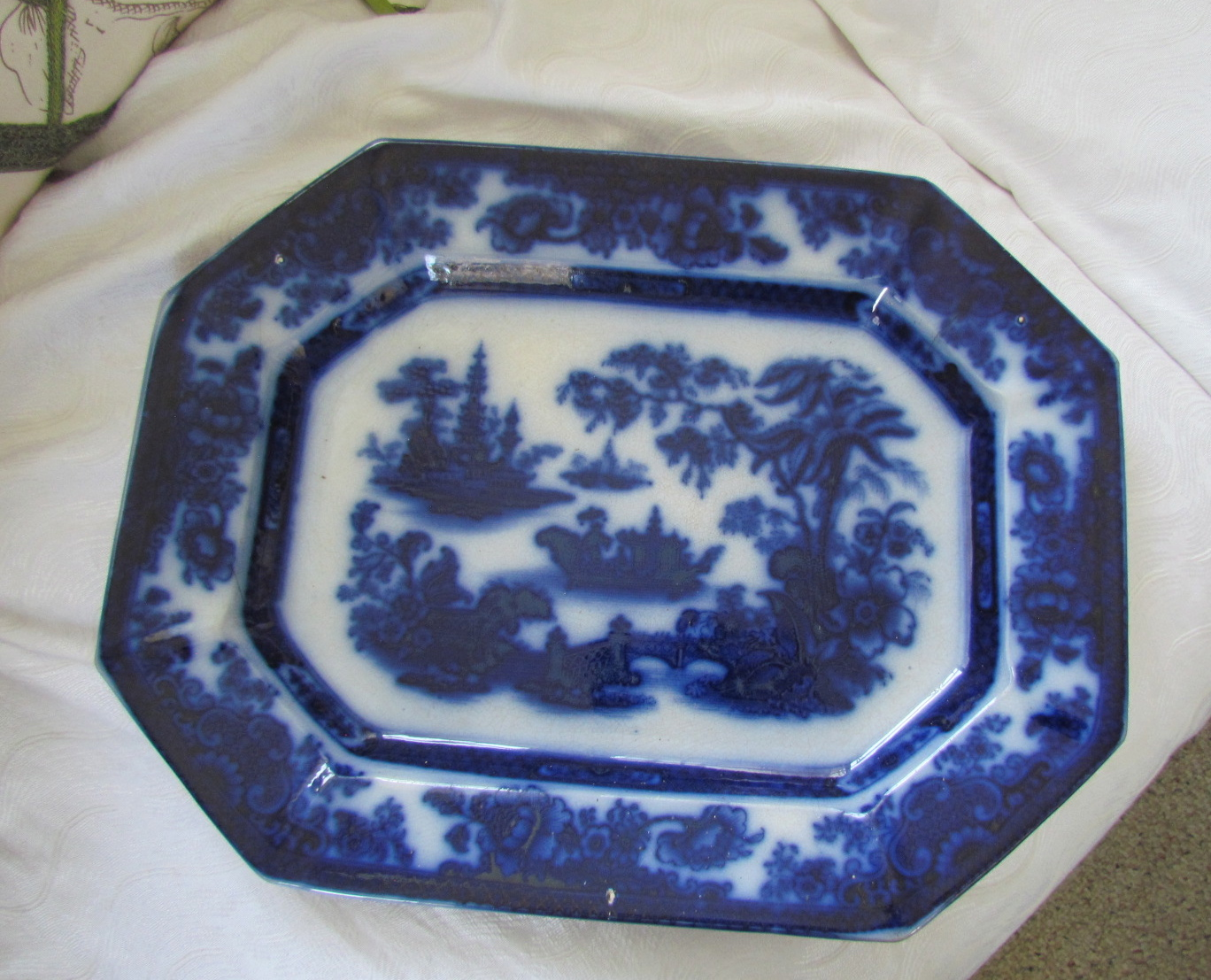 Antique Flow Blue Platter Tonquin Pattern Ironstone
