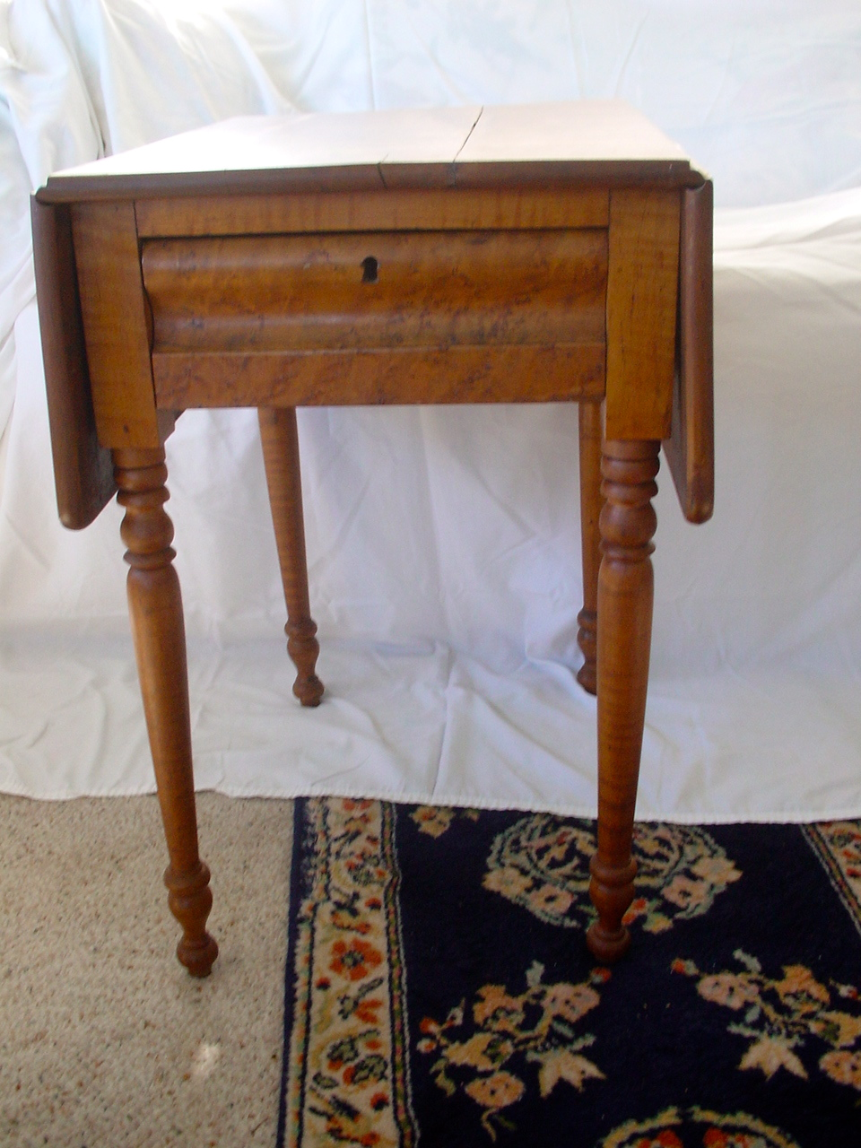 Tags: Antique Tiger Maple Table, Drop Leaf ...