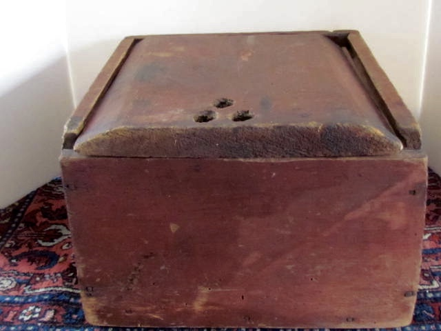Tags: 18th. Century Candle Box, Candle Box, Large Candle Box, Meeting House  Candle Box, Red Painted Candke Box, Slide Lid Box, Square Nails