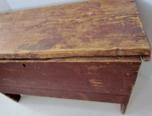 original red painted_blanket chest